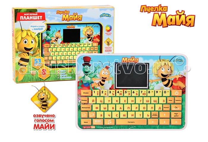 Пчелка Майя Компьютер планшет с цветным экраном 53 функции + 8 игр на русском языкеКомпьютер планшет с цветным экраном 53 функции + 8 игр на русском языкеКомпьютер GT6674 планшет с цветным экраном 53 функции + 8 игр на русском языке разработан специально для дошкольной подготовки детей от 3 до 6 лет.   Каждый раздел состоит из нескольких упражнений, направленных на развитие логики, мышления, памяти.   Функции: 53 задания (включая блокнот), 8 игр, 1 песенка из мультфильма, автоматическое отключение.   Описание функций: 1. Учим буквы и цифры  2. Найди пропущенную букву 3. Найди парную строчную букву  4. Учим буквы и слова 5. Напиши слово  6. Найди пропущенную букву 7. Сосчитай звёздочки  8. Подбери слово по картинке 9. Напиши букву или цифру  10. Выбери большее число  11. Учимся вычитать 12. Создай мелодию  13. Найди вторую половинку 14. Учимся складывать  15. Учимся отличать буквы от цифр 16. Зеркало  17. Лево или право 18. Упражнение на умножение 19. Пропущенные слоги 20. Найди цифру  21. Упражнение на деление<br>