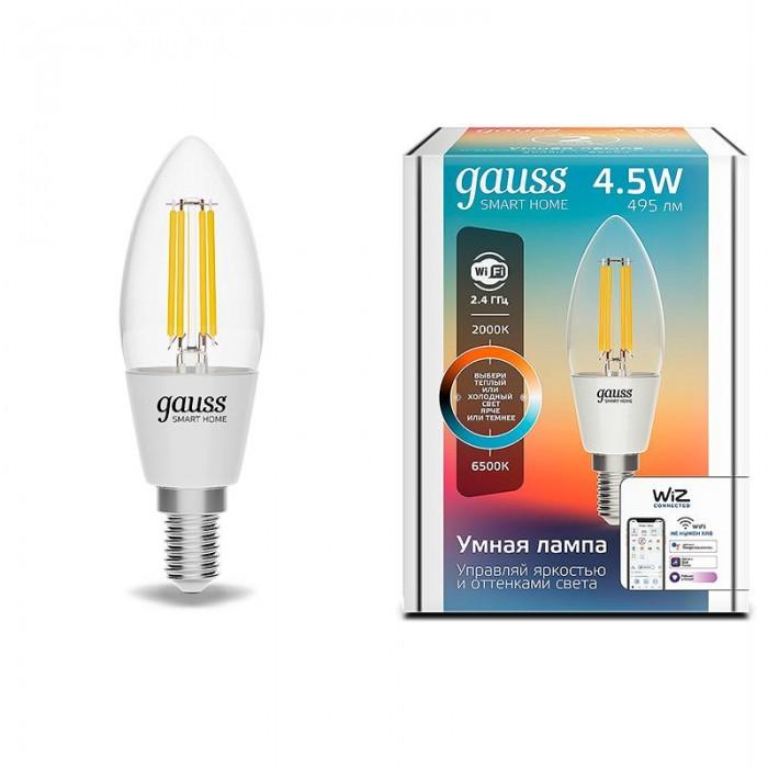 Купить Светильники, Светильник Gauss Лампа светодиодная филаментная Smart Home DIM+CCT E14 C35 4, 5 Вт 2000-6500К