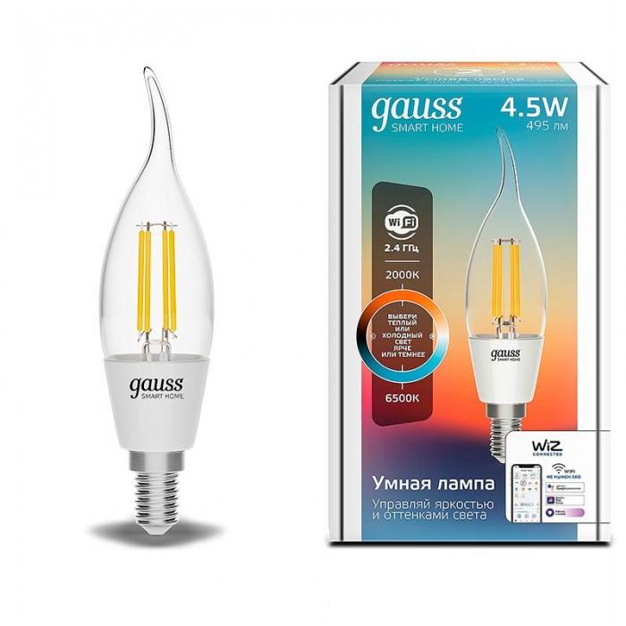 Купить Светильники, Светильник Gauss Лампа светодиодная филаментная Smart Home DIM+CCT E14 CF35 4, 5 Вт 2000-6500К