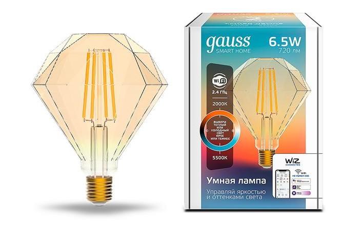 Светильники Gauss Лампа светодиодная филаментная Smart Home DIM+CCT E27 Diamond Golden 6,5 Вт 2000-5500К