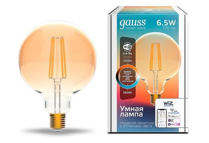 Купить Светильники, Светильник Gauss Лампа светодиодная филаментная Smart Home DIM+CCT E27 G95 Golden 6, 5 Вт 2000-5500К