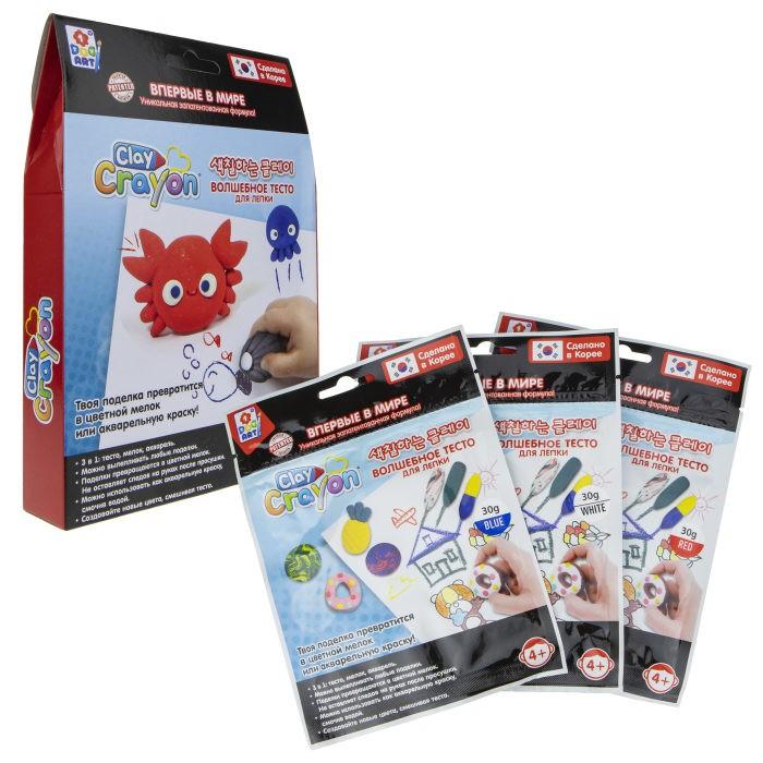1 Toy Набор Clay Crayon тесто-мелков Крабик 3 цвета по 30 г