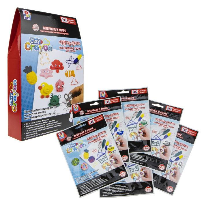 1 Toy Набор Clay Crayon тесто-мелков 6 цветов по 30 г