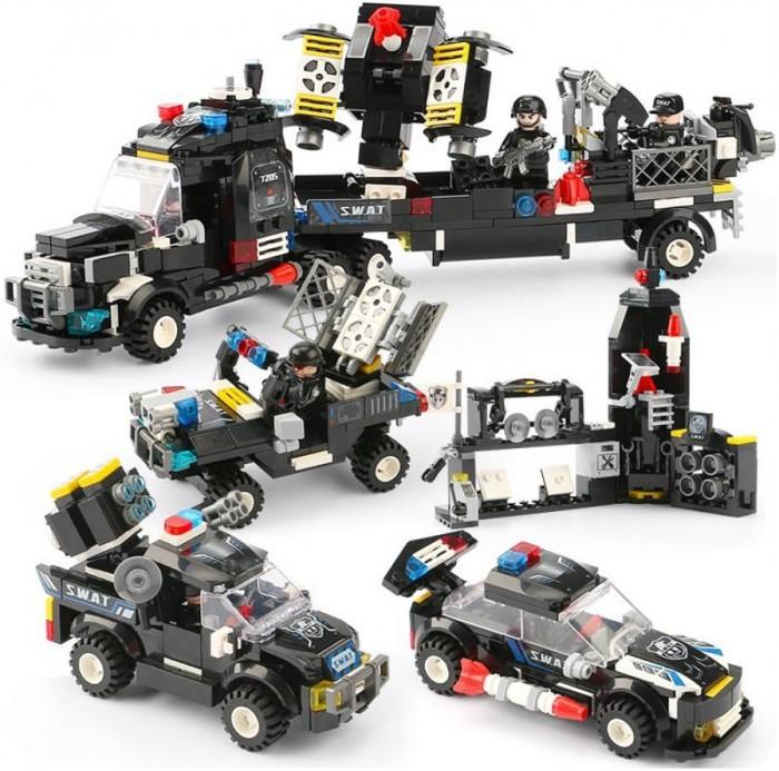 Купить Конструкторы, Конструктор Sembo Swat Машины для спец операций 4 в 1 (689 деталей)