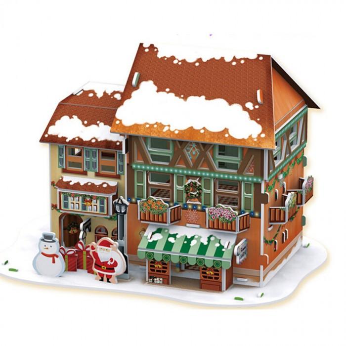 Конструкторы CubicFun 3D пазл Рождественский домик 4 с подсветкой конструкторы cubicfun 3d пазл эйфелева башня 2 франция