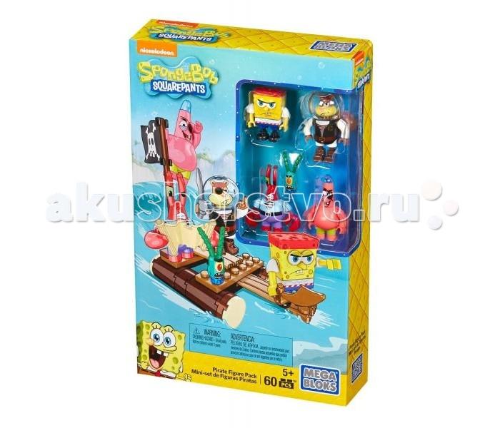 Конструкторы Mega Bloks Губка Боб набор из 4 фигурок Пираты mega mega puzzle puzzle block игрушка игрушка spongebob squarepants big combat set cnf69