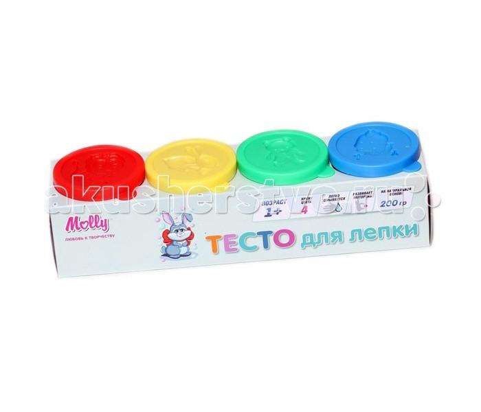Всё для лепки Molly Тесто для лепки 4 цвета по 50 грамм всё для лепки 1 toy набор теста для лепки кексы 4 цвета
