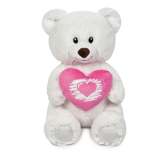 Мягкая игрушка Maxitoys Мишка белый с сердцем 30 см