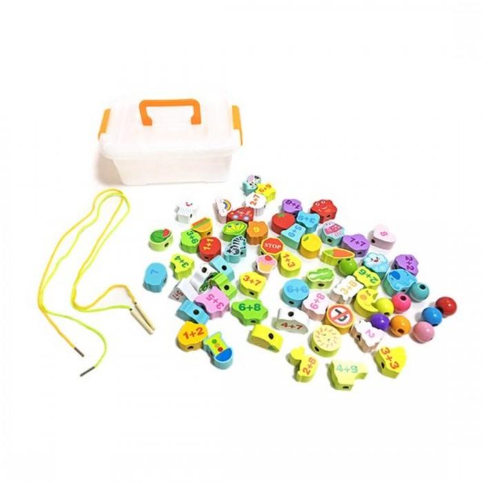 Картинка для Деревянные игрушки Наша Игрушка Шнуровка Арифметика (67 предметов)