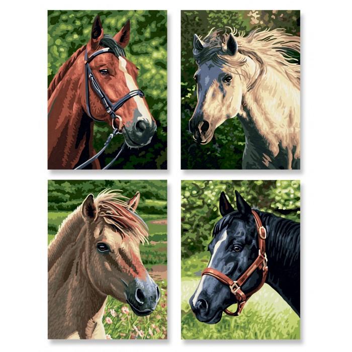 Картины по номерам Schipper Лошади 4 картины 18х24 см наборы для рисования цветной картины по номерам обитатели саванны