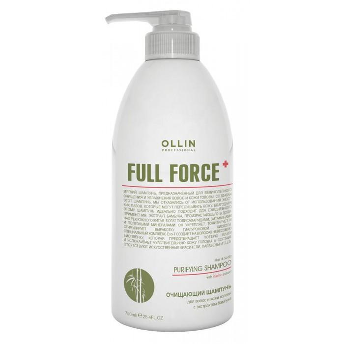 Косметика для мамы OLLIN Professional Full Force Очищающий шампунь для волос и кожи головы с экстрактом бамбука 750 мл недорого