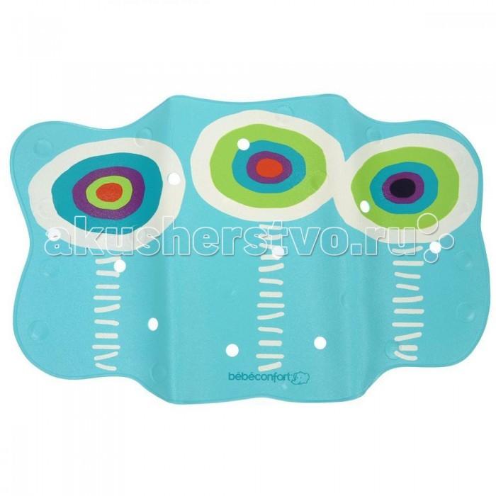 Коврик Bebe Confort для ванны Galapaos с термоиндикатором 70х45 смдля ванны Galapaos с термоиндикатором 70х45 смПрорезиненный коврик надежно прилегает к поверхности ванны с помощью присосок. Ребёнок может стоять или сидеть на нём при купании, без угрозы поскользнуться. Оснащён термоиндикатором, который меняет цвет капельки на рисунке, предупреждая о превышении температуры воды 36 град.  Забавная картинка устойчива к истиранию в теплой воде.  Благодаря специальным прорезям под руку, коврик удобно класть и вынимать.  Для детей от 8 мес до 3-х лет.  Размеры коврика - 70 x 45 см.<br>