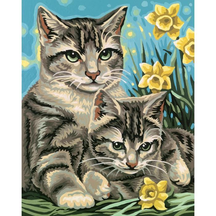 Творчество и хобби , Картины по номерам Schipper Кошка с котенком 24х30 см арт: 109123 -  Картины по номерам