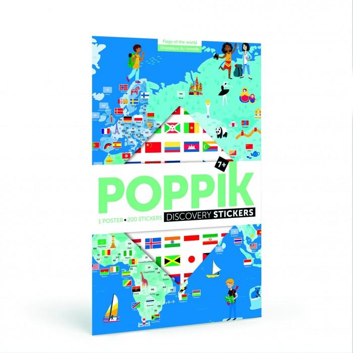 PoppiK Образовательный постер из наклеек Флаги Мира DIS001