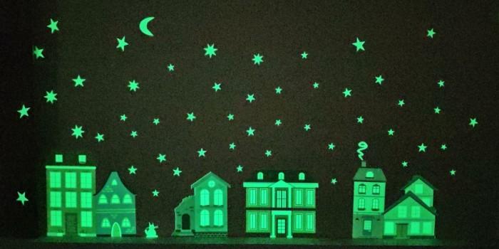 ночники Детские наклейки Freeze Light Декоративная наклейка-ночник Домики-ночники