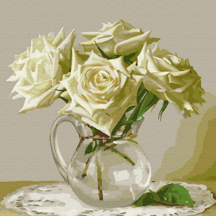 Купить Картины по номерам, Molly Картина по номерам Пять белых роз 30х30 см