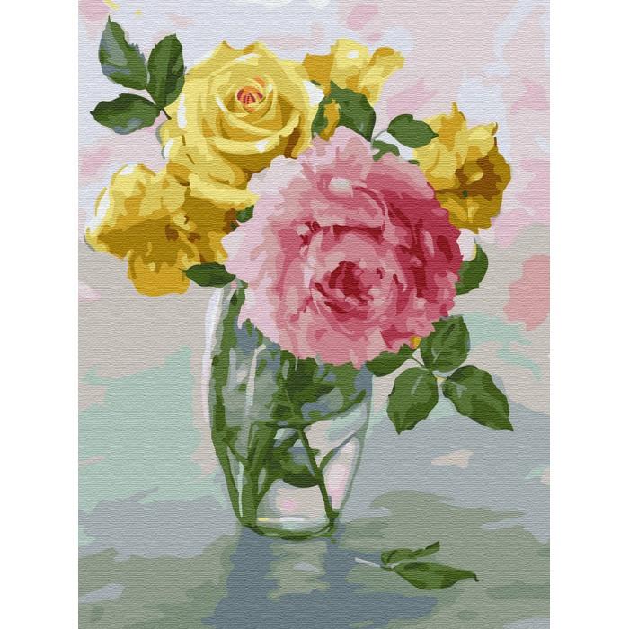 Купить Картины по номерам, Molly Картина по номерам с цветной схемой на холсте Пионы и розы 40х30 см