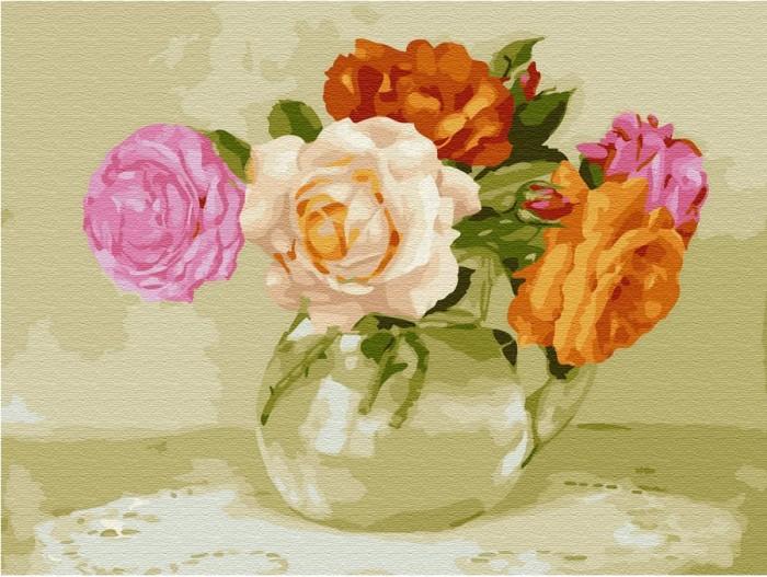 Купить Картины по номерам, Molly Картина по номерам с цветной схемой на холсте Розочки 40х30 см