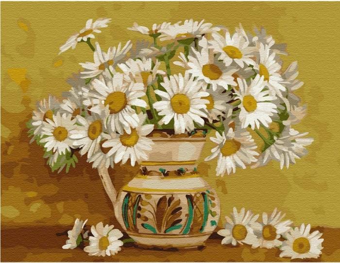 Купить Картины по номерам, Molly Картина по номерам с цветной схемой на холсте Ромашковое кружево 40х30 см