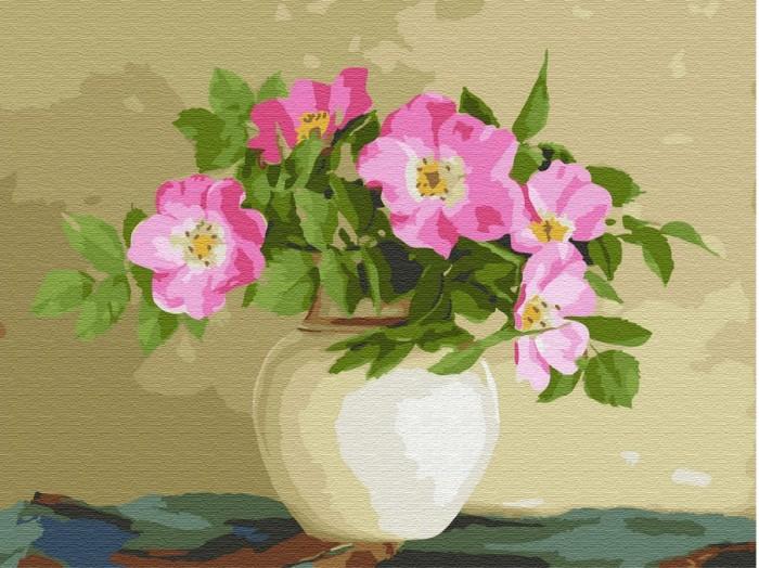 Картины по номерам Molly Картина по номерам с цветной схемой на холсте Цветы шиповника 40х30 см картины по номерам molly картина по номерам с цветной схемой на холсте настроение 40х30 см