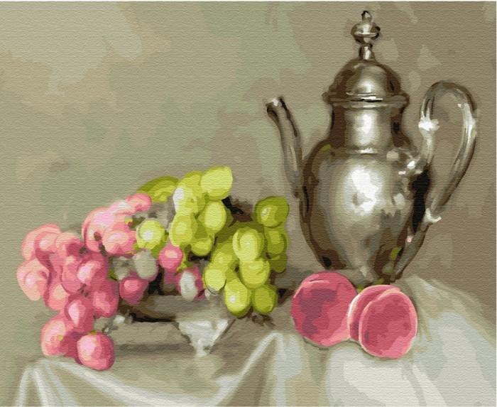 Купить Картины по номерам, Molly Картина по номерам на дереве Натюрморт с виноградом 50х40 см