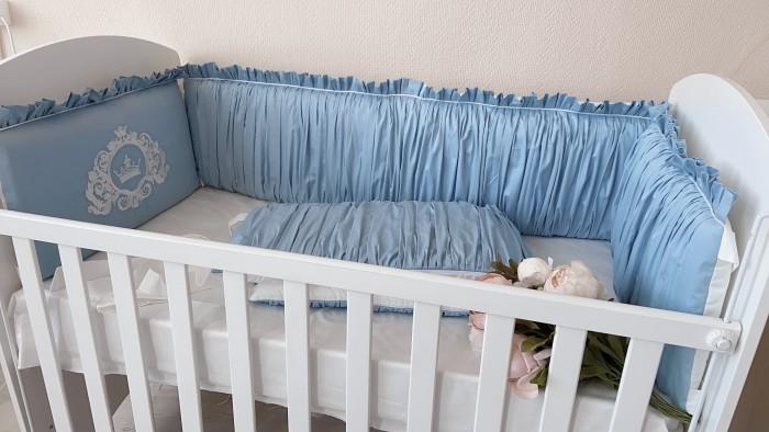 Бортик в кроватку Krisfi Голубые сны прямоугольную и овальную Бпрем01