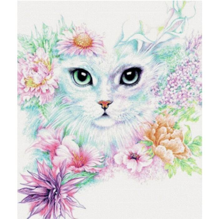 Купить Картины по номерам, Котеин Картина по номерам Кошечка в цветах 30х30 см