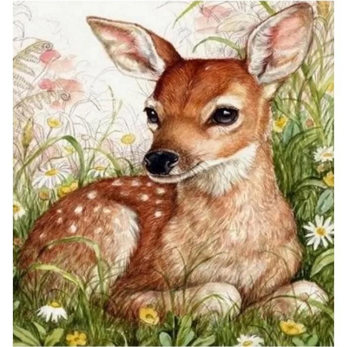 Купить Картины по номерам, Котеин Картина по номерам Пятнистый олененок 30х30 см