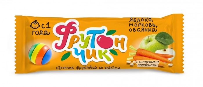 Печенье Фрутончик Батончик фруктовый со злаками Яблоко, морковь, овсянка 20 г