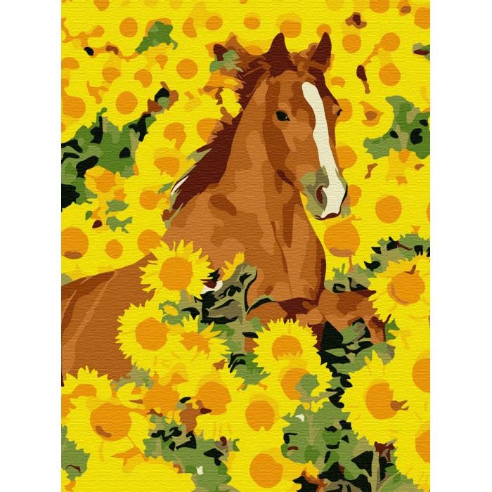 Купить Картины по номерам, Molly Картина по номерам Лошадь в подсолнухах 20х15 см