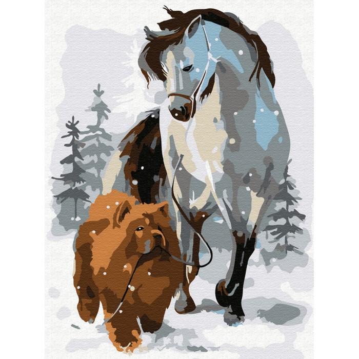 Купить Картины по номерам, Molly Картина по номерам Лошадь с собакой на прогулке 20х15 см