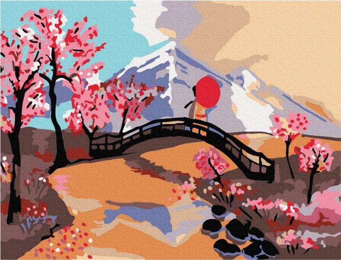 Купить Картины по номерам, Molly Картина по номерам Японский пейзаж 20х15 см