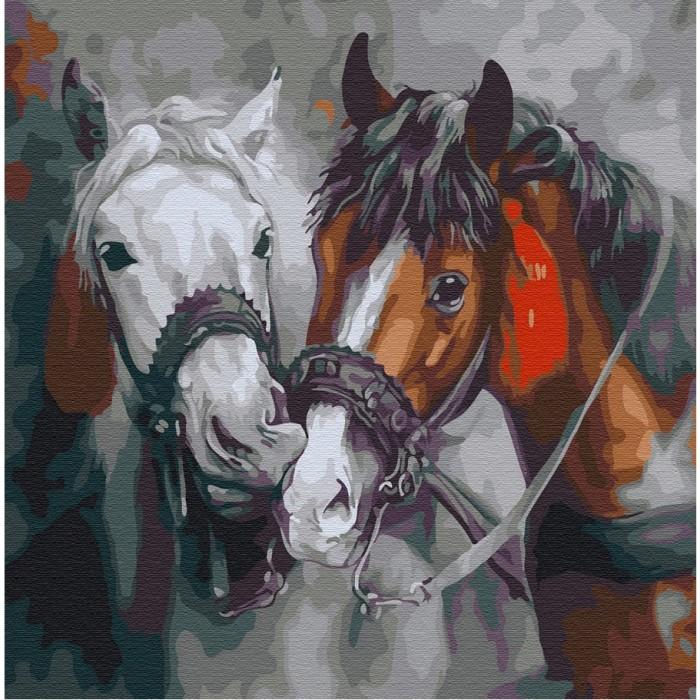 Купить Картины по номерам, Molly Картина по номерам Красивые лошади 30х30 см