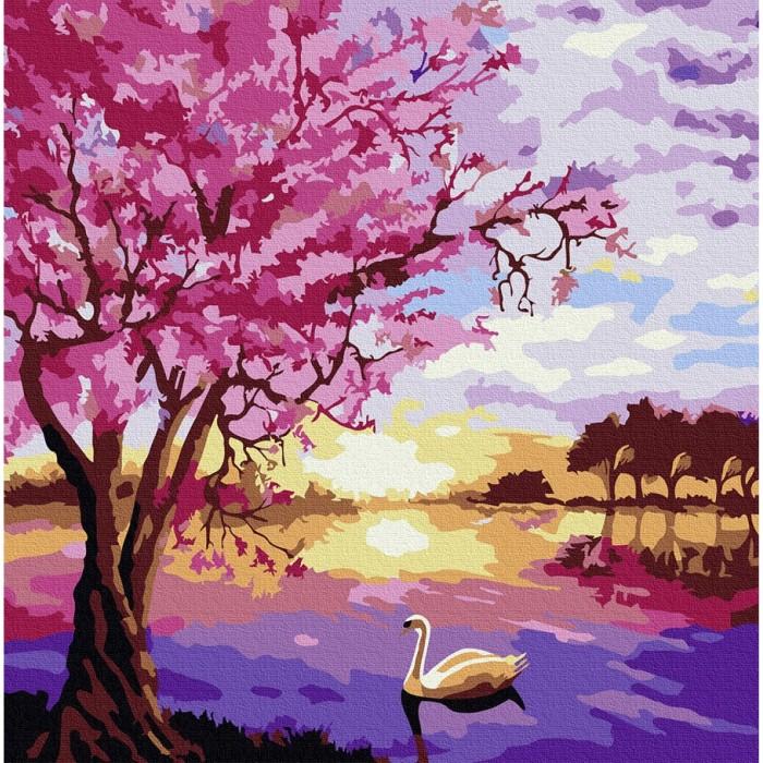 Картины по номерам Molly Картина по номерам Сиреневый пейзаж 30х30 см