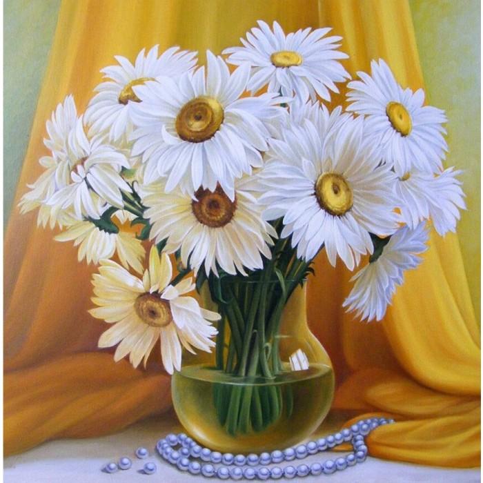 Картины по номерам Molly Картина по номерам Букет махровых ромашек 30х30 см