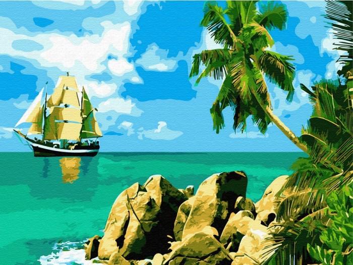 Купить Картины по номерам, Molly Картина по номерам с цветной схемой на холсте Сейшельские острова 40х30 см