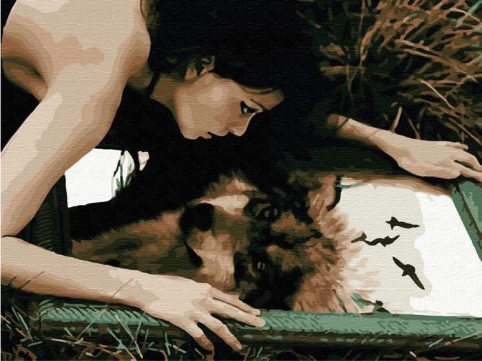 Купить Картины по номерам, Molly Картина по номерам с цветной схемой на холсте Волчица 40х30 см