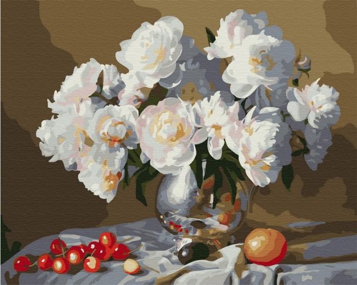 Картины по номерам Molly Картина по номерам с цветной схемой на холсте Натюрморт с белыми пионами 40х30 см картины по номерам molly картина по номерам с цветной схемой на холсте настроение 40х30 см