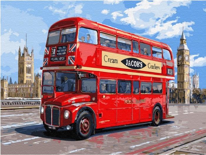 Купить Картины по номерам, Molly Картина по номерам с цветной схемой на холсте Автобус Лондона 40х30 см