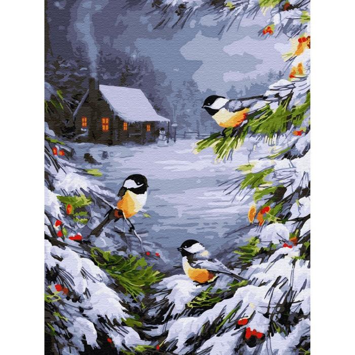 Купить Картины по номерам, Molly Картина по номерам с цветной схемой на холсте Зимний лес 40х30 см