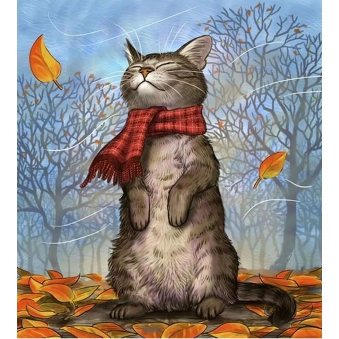 Купить Картины по номерам, Molly Картина по номерам с цветной схемой на холсте Кот в шарфе 40х30 см