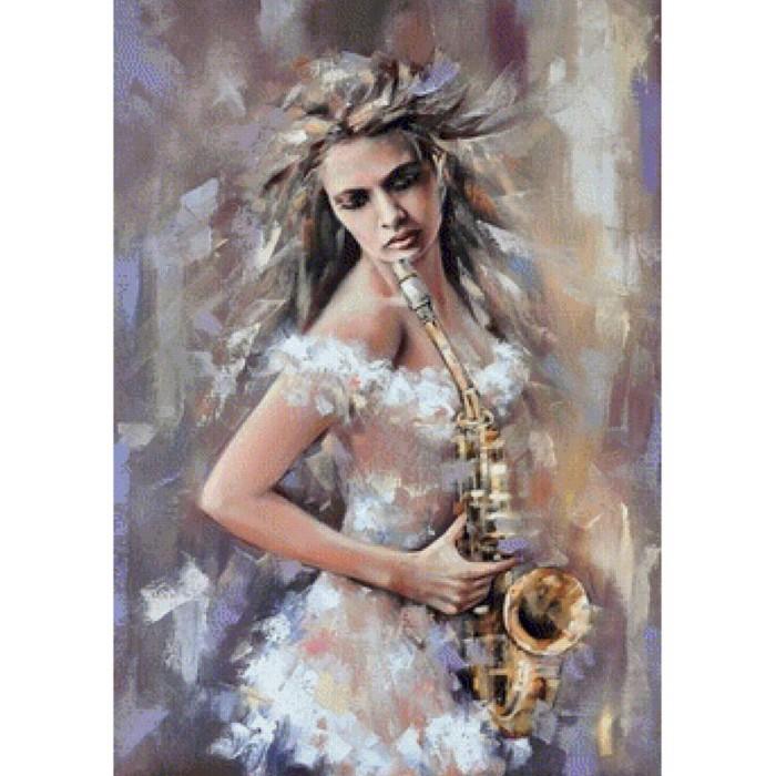 Купить Картины по номерам, Molly Картина по номерам с цветной схемой на холсте Саксофонистка 40х30 см