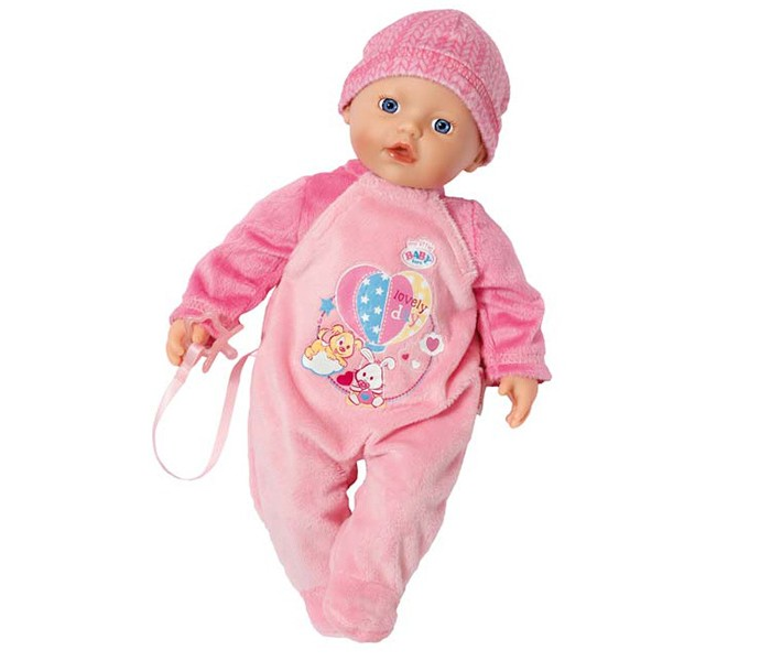 Zapf Creation Игрушка my little BABY born Кукла, 32 смИгрушка my little BABY born Кукла, 32 смОчаровательный пупс от компании Zapf Creation – отличный выбор для девочки. Эта куколка отличается от классических интерактивных кукол Бэби Борн – тельце куклы мягконабивное, из твердых материалов изготовлены только голова и конечности. Наполнитель мягкой части игрушки состоит из микрогранул. Благодаря этому куклу можно купать в воде – набивка очень быстро высыхает и с куклой снова можно играть.  В наборе с куклой поставляется комплект одежды – розовый комбинезончик с симпатичным принтом, шапочка и также соска. Размер игрушки 32 см<br>