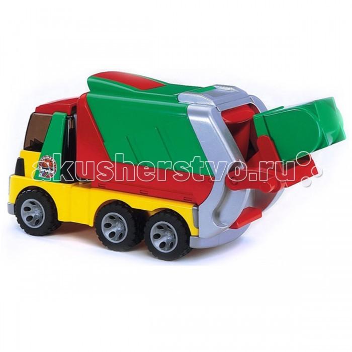Bruder Мусоровоз RoadmaxМусоровоз RoadmaxМусоровоз Roadmax выполнен из качественной пластмассы ярких насыщенных цветов, имеет стильную обтекаемую форму.   Техническая оснащенность:  крышка кабины откидывается, для доступа в кабину;  кабина оборудована удобными креслами;  кузов поднимается для разгрузки на 45 градусов, одновременно откидывается задний борт. В первоначальном положении надёжно фиксируется защёлкой;  сверху на кузове открывается крышка;  задний борт кузова мусоровоза за счёт телескопического механизма выдвигается, имеет подвижную дверку-шторку. В первоначальном положении надёжно фиксируется защёлкой;  контейнер для мусора вынимается, имеет устойчивое основание. Легко устанавливается на место за счёт направляющих рельсов и не соскакивает при движении;  подъёмный механизм управляется удобной ручкой, переворачивает контейнер почти на 180 градусов, что позволяет полностью разгрузить мусор в кузов. В первоначальном положении надёжно фиксируется защёлкой;  колёса имеют настоящие резиновые покрышки с крупным протектором – не гремят при езде и не царапают пол.   Материал: пластмасса, металл.  Размер упаковки: 46х19х23,5 см.   Для детей от 3 лет.<br>