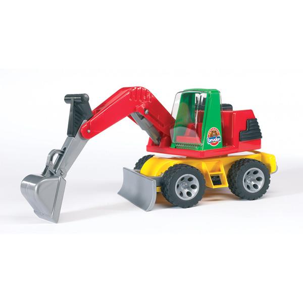 Bruder Экскаватор RoadmaxЭкскаватор RoadmaxЭкскаватор имеет платформу, вращающюся на 360 градусов. Стрела двигается с помощью удобного рычага. Колеса имеют настоящие резиновые покрышки с крупным протектором.   Размер игрушки: 38,3x19,8x17 см.<br>