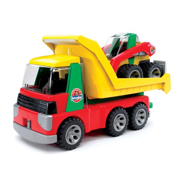 Bruder Грузовик с погрузчиком RoadmaxГрузовик с погрузчиком RoadmaxЭта игрушка – настоящий грузовик ROADMAX, только уменьшенный в 16 раз. Как и у «старшего брата», у него открываются двери кабины, сдвигается кузов и опускается его задний борт. В комплект также входит механический погрузчик, при помощи которого ребенок сможет загрузить в машину все, что ему необходимо, полностью имитируя настоящий процесс погрузки и перевозки.  Размер упаковки: 23,5х18х42 см<br>