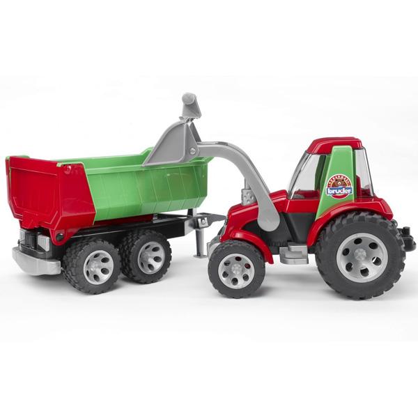 Bruder Трактор с ковшом и прицепом RoadmaxТрактор с ковшом и прицепом RoadmaxТрактор «Roadmax» с фронтальным погрузчиком. С его помощью удобно раскапывать и засыпать ямки, разравнивать строительную площадку или перевозить крупные грузы. Малышу понравятся не только приятные цвета, но и многочисленные функциональные особенности машинки:  ковш трактора двигается в вертикальной плоскости, а при нажатии на удобный рычаг совершает зачерпывающее движение; кабина является полностью прозрачной, а ее дверцы открываются и закрываются; широкие колеса обеспечивают трактору высокую проходимость, а кроме того они выполнены из особо мягкого пластика, который не гремит при езде и не царапает гладкий пол; прицеп откидывается на платформе, а кроме того у него открывается задний борт; крепление прицепа универсально, поэтому он может использоваться со всеми машинками серии «Roadmax», имеющими соответствующий разъем.<br>
