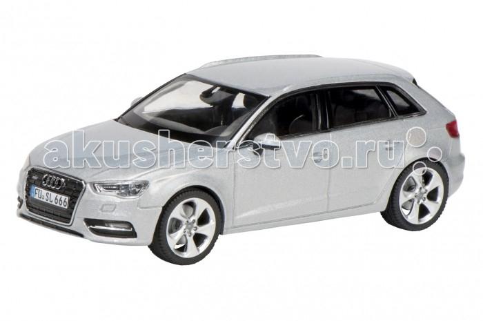 Schuco Автомобиль Audi A3 Sportback, серебристый 1:43Автомобиль Audi A3 Sportback, серебристый 1:43Автомобиль Audi A3 Sportback, серебристый 1:43, 20/40 450751700  Коллекционная модель Audi A3 Sportback от немецкого бренда Schuco - это точная копия одноименного хэтчбэка в масштабе 1:43. Модель имеет максимально реалистичный вид за счет детализированной проработки корпуса и салона, а также подвижных элементов (открываются двери и окна). Колеса машины прорезинены, могут свободно вращаться. Такая модель обрадует любого ребенка, интересующегося благородными машинами, а также отлично подойдет коллекционерам масштабных игрушек.<br>