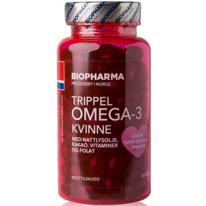 Biopharma Рыбий жир Trippel Omega-3 Kvinne 120 капсул