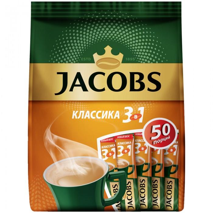 Jacobs Кофе растворимый Классика 3 в 1 порошкообразный 50 шт.